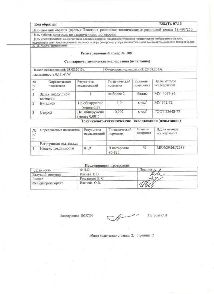 Санитарно-гигиенический сертификат