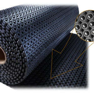 Коврик противоскользящий в рулоне резиновый с отверстиями 1000х10000х13 Черный; «Тяжелый»