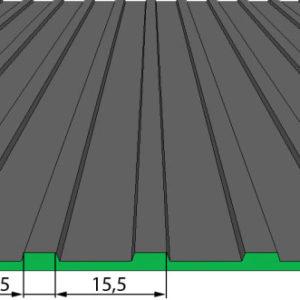 Противоскользящее напольное рулонное резиновое покрытие — Редкое рифление. 1000; 1200; 1250; 1500 Черное