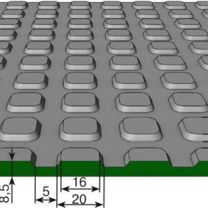 Противоскользящее напольное рулонное покрытие — Квадратное рифление. 1000; 1250; 1500 Черное