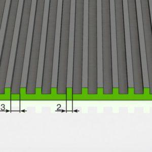 Противоскользящее напольное рулонное покрытие — Поперечное рифление. 1000; 1200; 1500 Черное