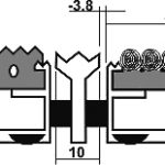 Придверная грязезащитная металлическая решетка высокая 23мм. Резина/Текстиль/Скребок