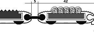 Придверная грязезащитная металлическая решетка низкая 14мм. Резина/Текстиль