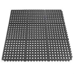 Коврик грязесобирающий резиновый с отверстиями 900х900х12 Черный; с замками