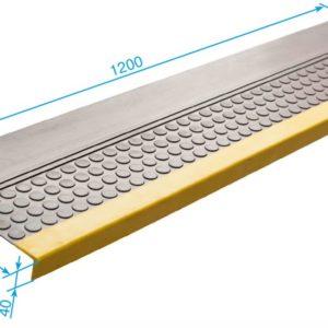 Накладка на ступень (Проступь) Удлиненная пятачковая 1200x300x30 Светофор (Серая)